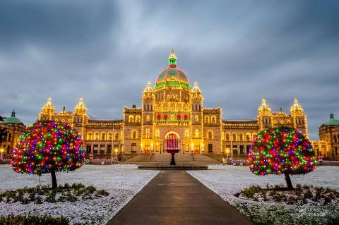 Victoria, BC Legislature at dawn