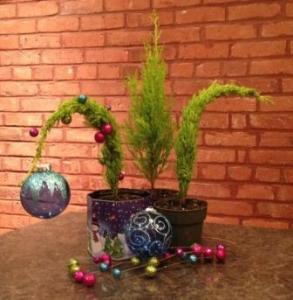 DIY Grinch Tree at the various stages